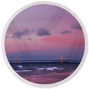 Pink Sunset Over Mackinac Michigan Round Beach Towel