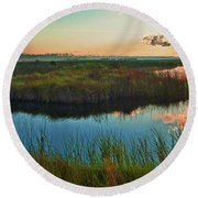 Pink Swamp Sunrise Round Beach Towel
