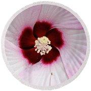 Pink Swirl Hibiscus Round Beach Towel