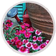 Pinks The Garden Beauty - Dianthus Round Beach Towel