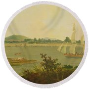 Pinnace Sailing Down The Ganges Past Monghyr Fort Round Beach Towel