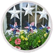 Pinwheels In The Flower Box  Round Beach Towel
