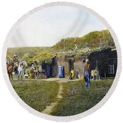 Pioneers Sod House, 1887 Round Beach Towel