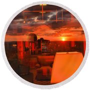 Pipestem Sunset Round Beach Towel