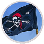 Pirate Flag Skull With Red Scarf Round Beach Towel