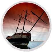 Pirate Ship 2 Round Beach Towel by Cale Best