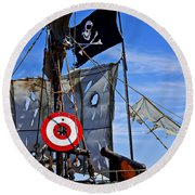 Pirate Ship With Target Round Beach Towel by Garry Gay