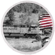 Pirates And Trains Black And White Round Beach Towel