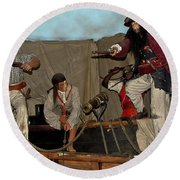 Pirates Of Peril Round Beach Towel by DigiArt Diaries by Vicky B Fuller