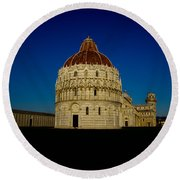 Pisa Tower And Baptistery Cathedral Round Beach Towel