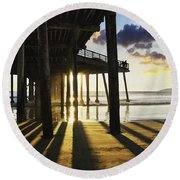 Pismo Pier Sunset II Round Beach Towel