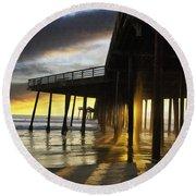 Pismo Pier Sunset IIi Round Beach Towel