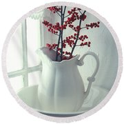 Pitcher With Red Berries  Round Beach Towel