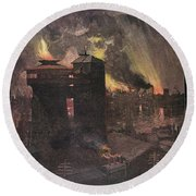 Pittsburgh: Furnaces, 1885 Round Beach Towel