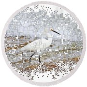 Pixel Cowbird Round Beach Towel