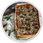 Pizza With Herbs Round Beach Towel