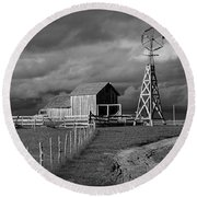 Plains Frontier Farm And Windmill At 1880's Town In South Dakota Round Beach Towel