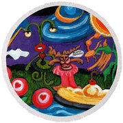 Planet Fantastic Round Beach Towel by Genevieve Esson