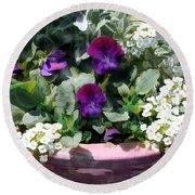 Planter Of Purple Pansies And White Alyssum Round Beach Towel