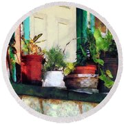 Plants On Porch Round Beach Towel