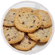 Plate Of Chocolate Chip Cookies Round Beach Towel