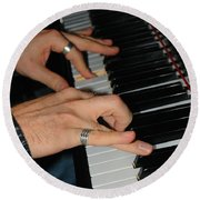 Play Me A Song Piano Man Round Beach Towel