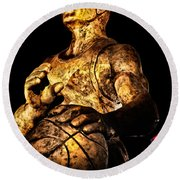 Player In Bronze Round Beach Towel by Christopher Holmes