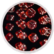 Playing Dice Being Rolled Round Beach Towel