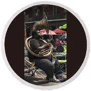 Playing The Tuba _ New Orleans Round Beach Towel