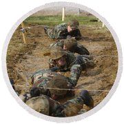 Plebes Low Crawl Under Barbwire As Part Round Beach Towel