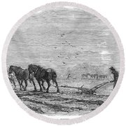 Ploughing, 1846 Round Beach Towel