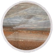 Ploughing In The Atlas Mountains Round Beach Towel