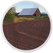 Plow Designs And A Barn Round Beach Towel