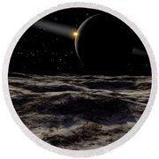Pluto Seen From The Surface Round Beach Towel