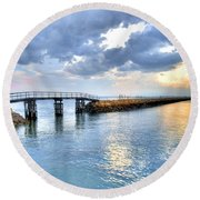 Plymouth Sunset Round Beach Towel