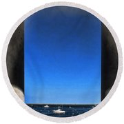 Plymouyh Harbor And Columns Round Beach Towel
