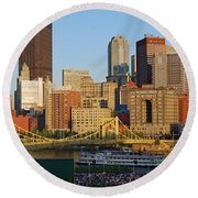 Pnc Park And River Boat Round Beach Towel