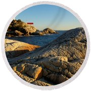 Point Atchison Lighthouse 1 Round Beach Towel