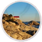 Point Atchison Lighthouse 2 Round Beach Towel