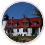 Point Betsie Light Station Round Beach Towel