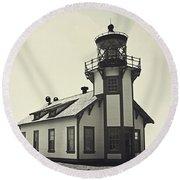 Point Cabrillo Lighthouse Round Beach Towel