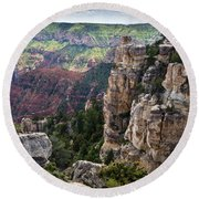 Point Imperial Cliffs Grand Canyon Round Beach Towel
