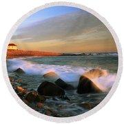 Point Judith Lighthouse Seascape Round Beach Towel