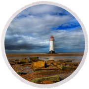 Point Of Ayr Beach Round Beach Towel by Adrian Evans