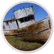 Point Reyes Beached Boat Round Beach Towel
