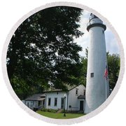Pointe Aux Barqes Lighthouse Round Beach Towel