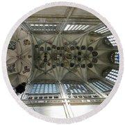 pointed vault of Saint Barbara church Round Beach Towel