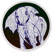 Pointillism Elephant Round Beach Towel