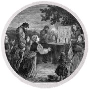 Poland: Cholera, 1873 Round Beach Towel