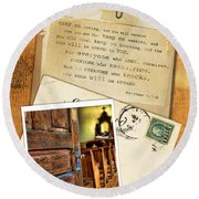 Polaroid Of Open Door To Church With A Bible Verse Round Beach Towel